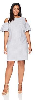 Lark & Ro Women's Plus Size Cold Shoulder Striped Dress