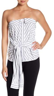 Alton Gray Bustier Striped Poplin Tie Front Shirt