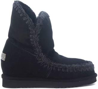 Mou Eskimo Inner Wedge Short Black Ankle Boots