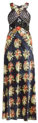 Paco Rabanne Embellished Bodice Floral Print Satin Slip Dress - Womens - Black Multi