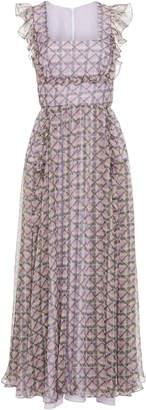 ALEXACHUNG Checkered Ruffle Organza Midi Dress