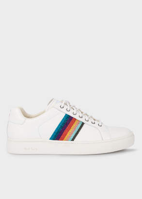 Paul Smith Women's White 'Artist Stripe' Leather 'Lapin' Trainers