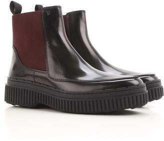 Tod's Polished Leather Two-tone Booties
