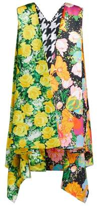 Richard Quinn Contrasting Print Satin Cape Dress - Womens - Multi
