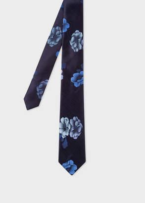 Paul Smith Men's Navy 'Rose' Jacquard Narrow Silk Tie