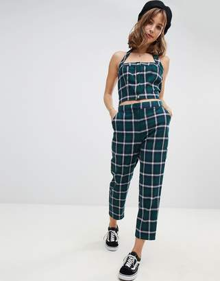 Wild Honey slim pants in check two-piece