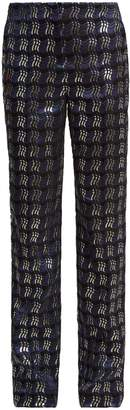Diane von Furstenberg Waved-check jacquard straight-leg trousers