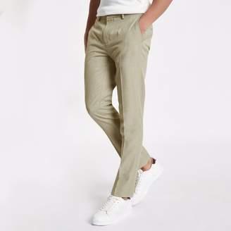 River Island Mens Stone herringbone skinny fit smart trousers