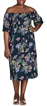 City Chic Plus Exotic Floral Off-the-Shoulder Midi Dress