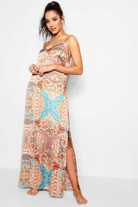 boohoo Scarf Print Plunge Maxi Beach Dress