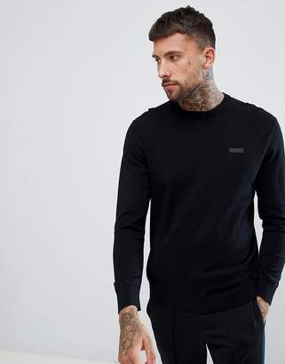 HUGO San Claudio crew neck knitted sweater with chest logo in black