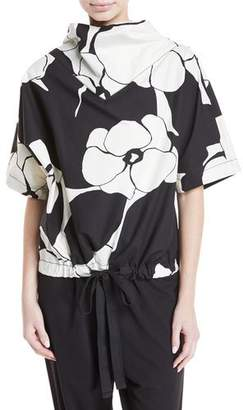 Marc Jacobs Drawn-Flowers Short-Sleeve Cotton Top with Drawstring-Hem