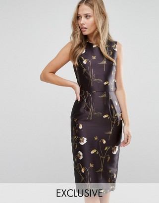 Hope and Ivy Pencil Dress in Sateen Floral Print with Frill Back Detail $112 thestylecure.com