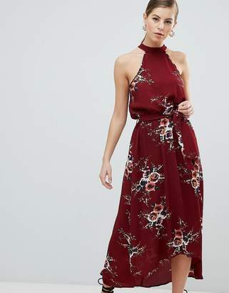 AX Paris High Neck Belted Floral Maxi Dress