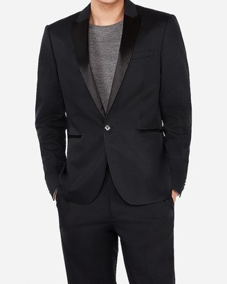 Express Extra Slim Black Satin Peak Lapel Cotton Tuxedo Jacket