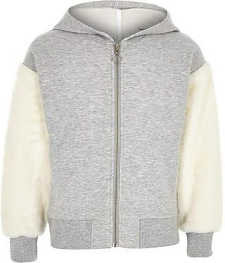 River Island Girls grey faux fur sleeve zip-up hoodie