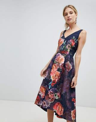 Oasis Occasion Floral Print V Neck Skater Prom Dress