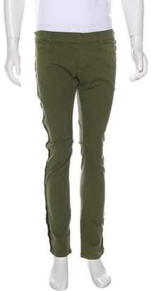 Balmain Metallic Frayed Skinny Jeans