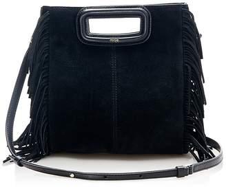 Maje Fringe Trim Suede Shoulder Bag