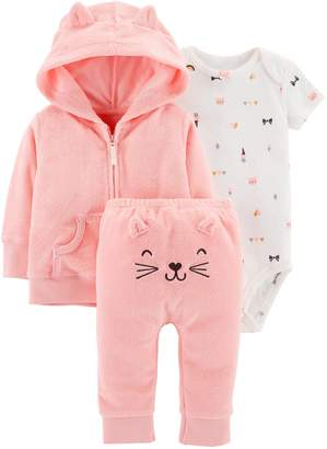 Carter's Baby Girl Print Bodysuit, Hooded Cardigan & Embroidered Pants Set