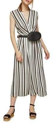 Miss Selfridge Sleeveless Striped Twist Jumpsuit