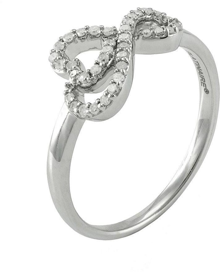 Platinaire 1/5-ct. T.W. Diamond Sideways Infinity Heart Ring