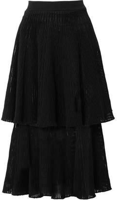 Sonia Rykiel Tiered Ribbed Wool-blend Midi Skirt - Black