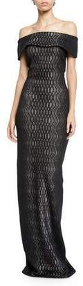 St. John Illusion Off-the-Shoulder Short-Sleeve Jacquard-Knit Gown