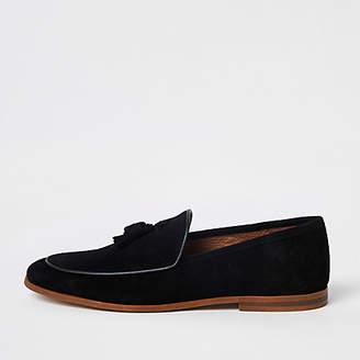 River Island Black suede tassel loafer
