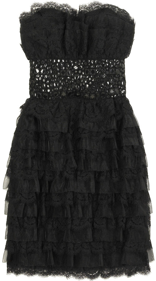 Marchesa Tiered lace dress