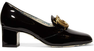 Gucci Victoire Logo-embellished Patent-leather Pumps - Black