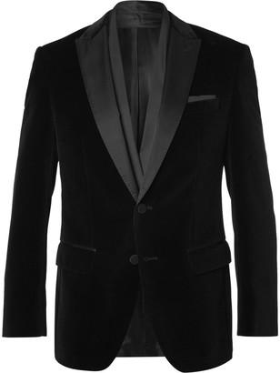 Hugo Boss Black Havit Slim-Fit Satin-Trimmed Velvet Blazer $695 thestylecure.com