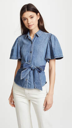 Rebecca Taylor Short Sleeve Denim Top with Tie