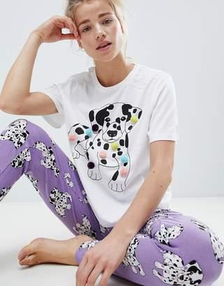 Asos Design PomPom Dalmation Tee & Legging Pyjama Set