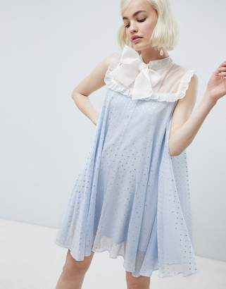 Sister Jane smock dress with pussybow in sparkle fabric