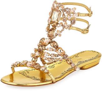 Marchesa Emily Jeweled Flat Sandals, Gold