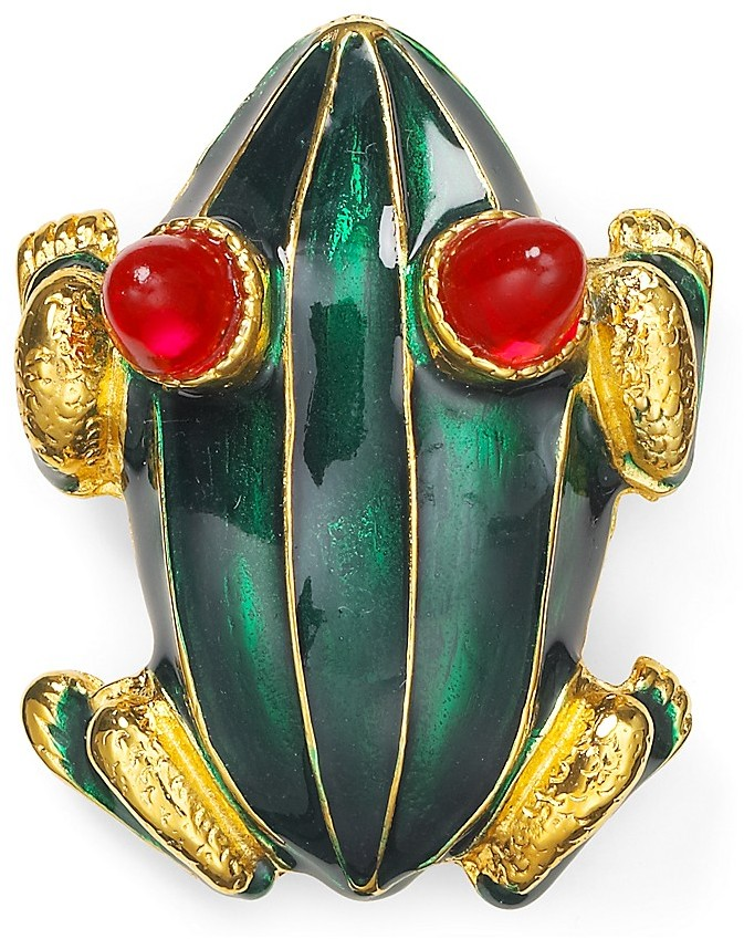 Kenneth Jay Lane Enamel Frog Pin