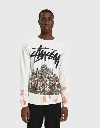 Stussy L/S Beach Mob Tie Dye Tee in White/Orange