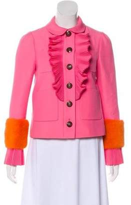 Gucci 2018 Mink Fur-Accented Jacket pink 2018 Mink Fur-Accented Jacket