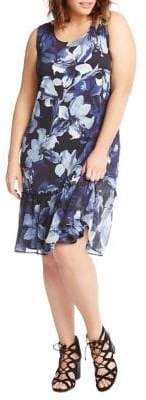 Karen Kane Sleeveless Floral Hi-Lo Midi Dress