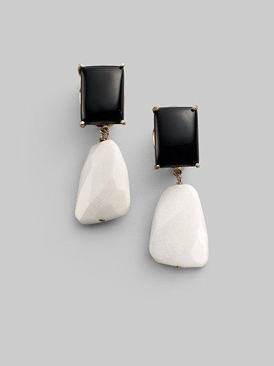 Bounkit White Jade & Black Onyx Earrings