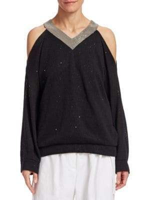 Brunello Cucinelli Linen& Silk Paillete Sweater