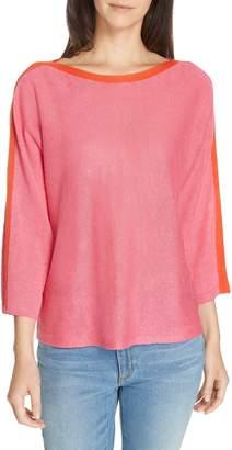 Eileen Fisher Stripe Detail Linen Sweater