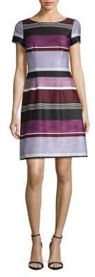 Adrianna Papell Brushed Striped A-Line Dress