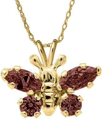 Mignonette Butterfly Birthstone Gold Pendant Necklace