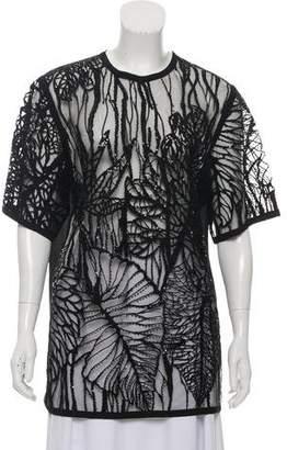 Elie Saab Embellished Short Sleeve Top