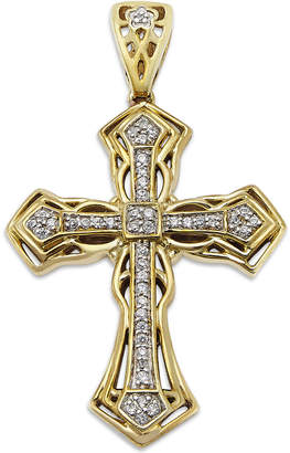 Macy's Men's Diamond Cross Pendant in 10k Gold (1/6 ct. t.w.)
