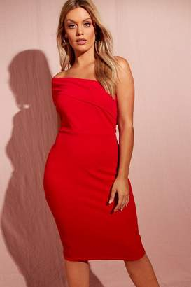 boohoo Plus One Shoulder Crepe Midi Bodycon Dress