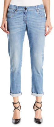Brunello Cucinelli Distressed Straight-Leg Denim Jeans w/Rolled Hem