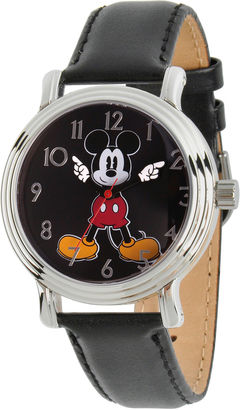 DISNEY Disney Womens Black And Silver Tone Mickey Mouse Strap Watch W002757 $49.99 thestylecure.com
